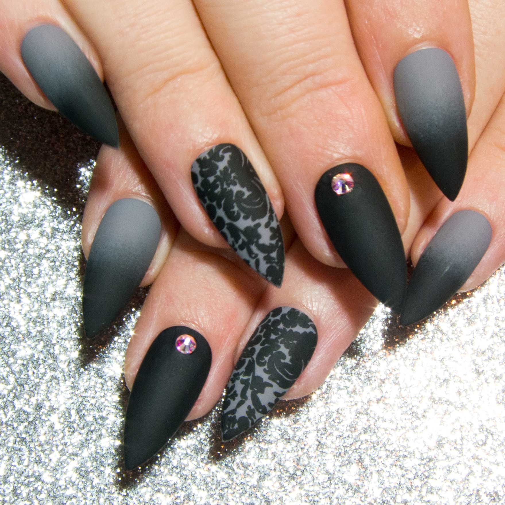 Matte Fake Nails Grey Press On Nails Black Gothic Faux