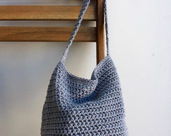 Silver cotton farmers market bag with color options tote bag cotton bag grocery bag crochet crocheted market bag produce bag cotton tote