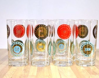 Mid Century Glasses: Set of 8 Casino Drinking Glasses Costa De Sol Portugal Casino De Deauville Monte Carlo Monaco Spielbank Baden Baden