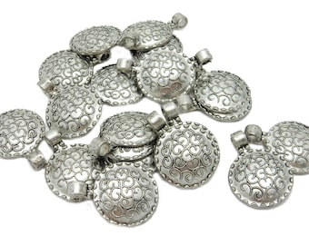 Coin Shaped Charm Round Silver Toned Coin Pendant with Intricate Swirl Design (S99B4-04)