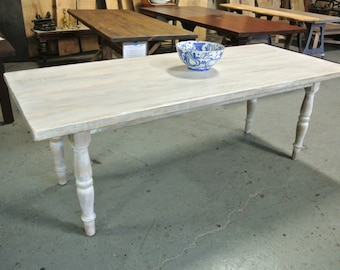 Custom White Washed Rustic Farm Table