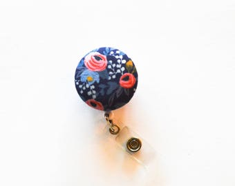 Navy Le Fleurs Badge Reel