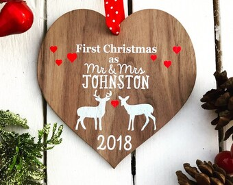 First Christmas as Mr and Mrs bauble First Christmas Married Mr and Mrs married ornament wood ornament Mr and Mrs Ornament 16CD