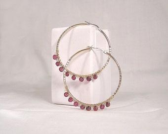 Garnet and crystal hoop earrings gold plate over sterling silver