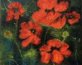 Poppies Garden Floral Oil Painting