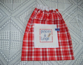 Little cotton bag for cloth, white cord and Red cord stop closure clips