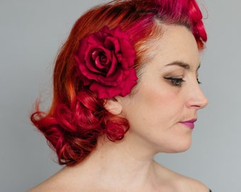 Red Rose Hair Flower, Red Rose Hair Clip, Red Rose Hair Accessory, Red Hair Flower, Red Floral Hair Clip, Red Vintage Style Rose Hair Flower