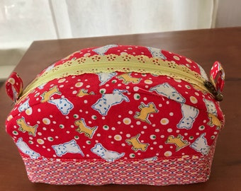Travel Cosmetic Bag, Westie Themed Print with Lacey Zipper