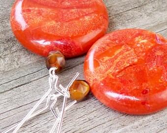 Large Coral Earrings Red Gemstone Earrings Red Statement Earrings Coral Gemstone Earrings Red Orange Earrings Large Red Earrings 30mm Round