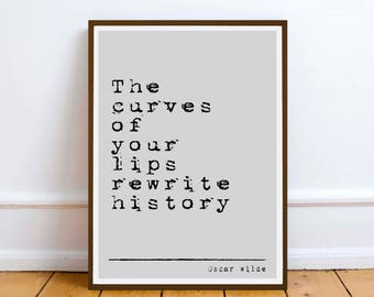 """Oscar Wilde quote - """"The Curves of your lips.."""" inspiration quote - Digital Download - art Poet Poetry wall art print book gift"""