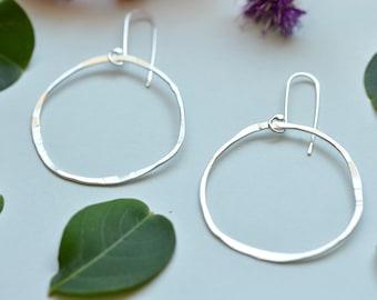 Boho silver hoops,  everyday earrings, dangle earrings, silver earrings, gift for her, organic shaped hoop earrings