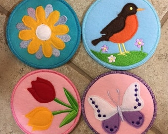 Felt Coasters,Spring time,machine embroidery,set of five