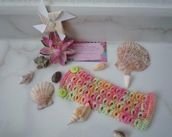 Summer colors hand made crochet Cuff Bracelet