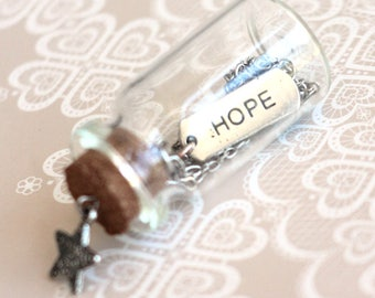 HOPE Mantra Charm, Silver Necklace with a tiny glass bottle packaging, Graduation Gift, Party Favors, Wedding Favor, Wedding Souvenir