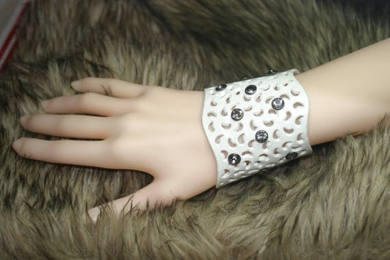 Leather Bracelet white openwork glam chic with Rhinestones for ceremonial cocktail wedding party