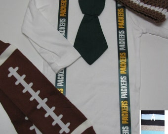 GREEN BAY PACKERS inspired football outfit for baby boy - tie bodysuit with suspenders, crochet hat, leg warmers