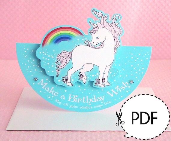 Clean image regarding unicorn birthday card printable