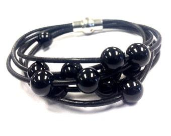 Black Polished Onyx, Beaded Cuff Bangle, Magnetic Clasp, Boho Jewelry, Boho Bracelet for Women, Multi-Strand Leather Bracelet, Bangle