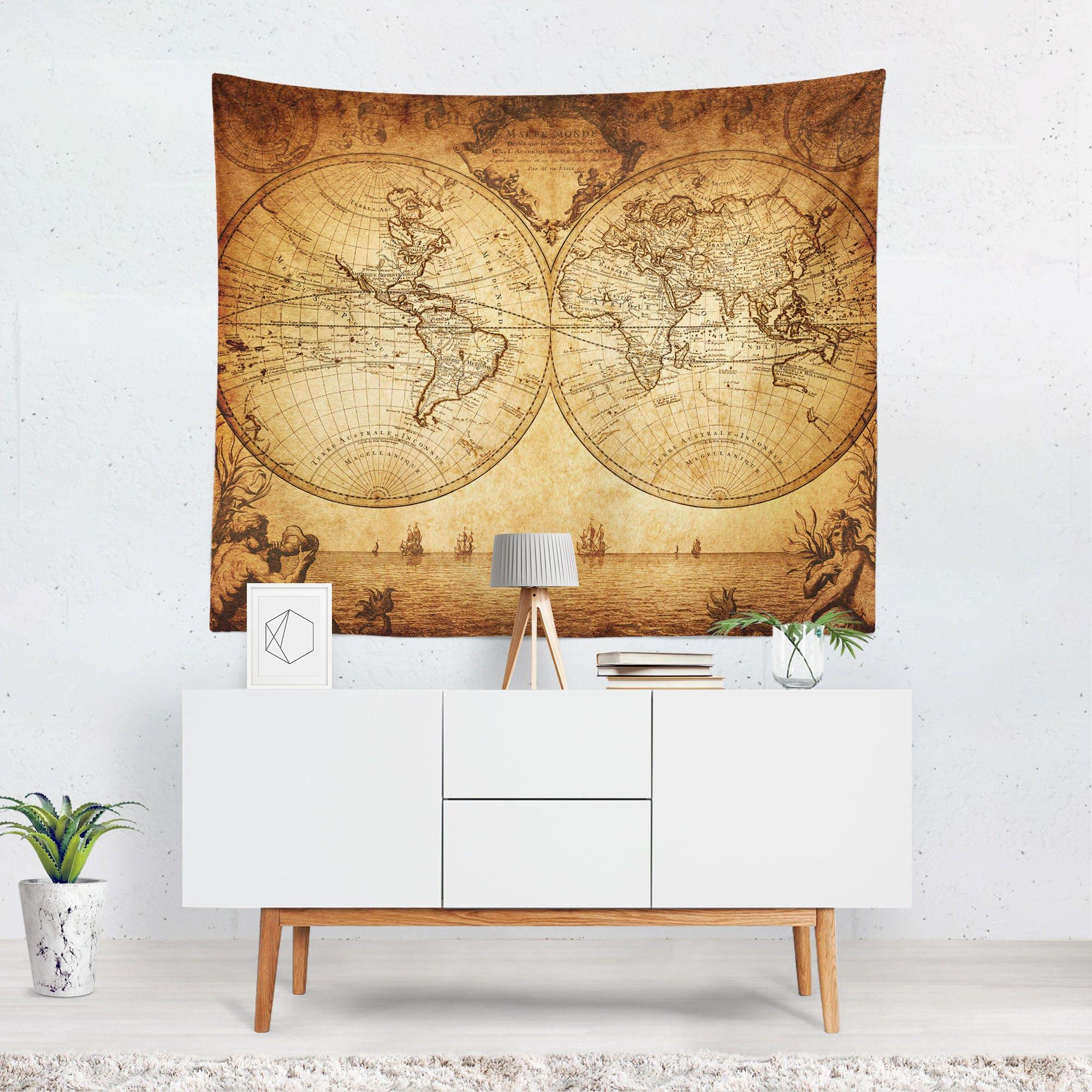 Vintage World Map Tapestry Vintage Map Wall Tapestry World