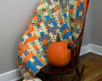 Fall Lap Quilt Autumn Throw Quilt Blue Orange Green Brown Quilted Patchwork Blanket Quiltsy Handmade FREE U.S. Shipping