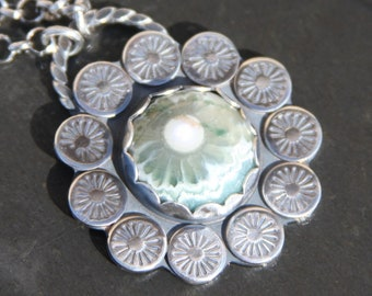 ocean jasper and sterling silver metalwork pendant necklace