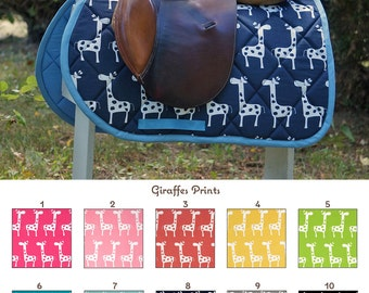 Custom Saddle Pad Giraffes Many Colors - MADE TO ORDER