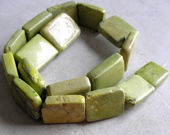 Yellow Green Turquoise Beads Vintage Rectangular Gemstone Mahjong Tile For Jewelry Making