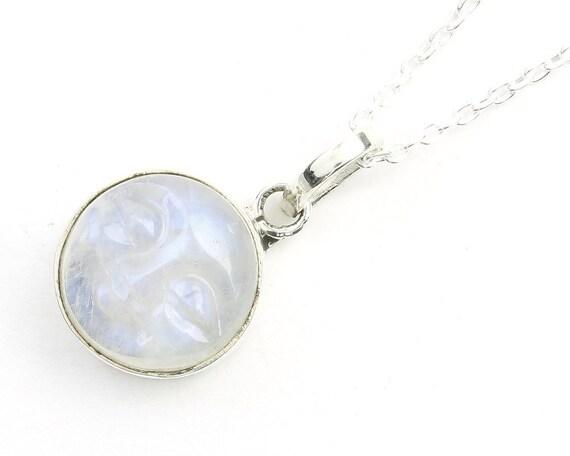 Carved Moonface Moonstone Sterling Silver Necklace, Moon Jewelry, Rainbow Moonstone, Gemstone, Meditation, Spiritual, Boho, Gypsy, Festival