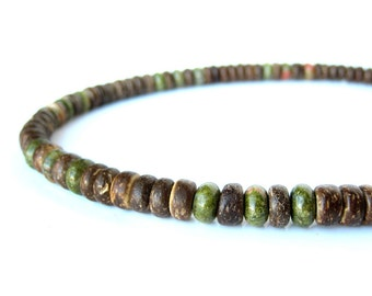 """Men's wood necklace - camo green gemstone and wood necklace for men. """"Camo"""""""