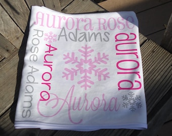 Personalized Baby Blanket with Snowflakes - Monogrammed Receiving Blanket for Girl - Custom Name Baby Blanket - Pink Winter Newborn Swaddle