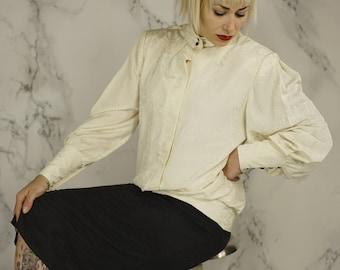 Vintage Black & White Leaf-Patterned One-Piece | Drop-Waist Dress | High Collar Jacket Dress | M