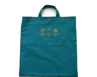 Hand Stitched Flowers Tote Bag (Teal)