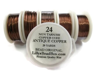 Antique Copper Wire - 24 Gauge Wire Wrapping Jewelry Supplies, Wire for Making Jewlery, Non Tarnish Wire