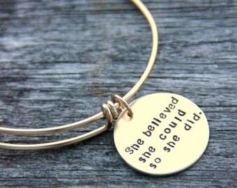 She Believed She Could So She Did Bracelet - Gold Bangle Bracelet - Personalized Bangle - Graduation Bracelet - Inspirational Bracelet
