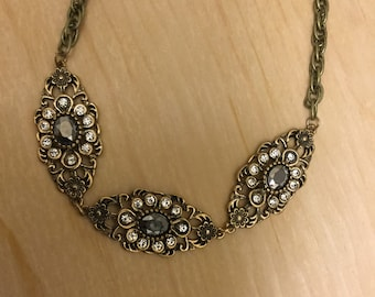 Brass and Bronze Rhinestone Necklace