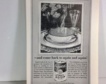 Vintage Campbells Tomato Soup advertisement page, 1950s. Near Mint Sealed.