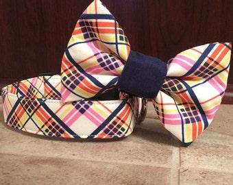 Dog collar, orange dog collar, navy dog collar, plaid dog collar, argyle dog collar, boy dog collar, dog collar bow tie, dog bow tie, tie