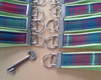 Key Fob, Key Wristlet, Roxburgh Tartan fabric,Scottish gift.