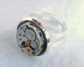 Steampunk Style Watch Movement Ring  SR55
