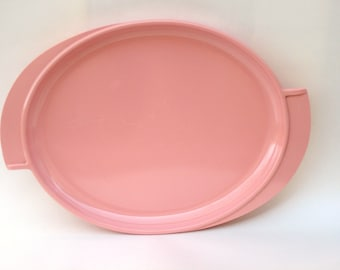 Vintage Pink Melmac Platter Oval Boonton Serving Dish for Patio, Trailer, Cottage or Retro Kitchen
