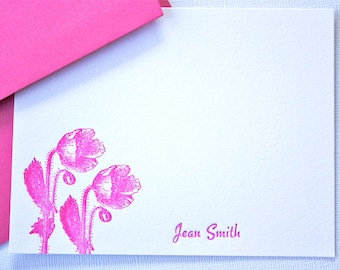 Personalized Letterpress Stationery Poppies Magenta Fuchsia Pink