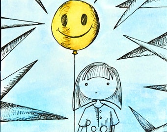 Original Drawing Color Wash Girl with Balloon 8.5 x 11 Print