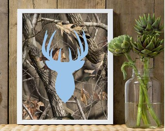 Boys nursery decor, baby blue deer wall decor, camo nursery, camouflage print, camo decor, buck deer nursery, deer theme, hunting, camo art