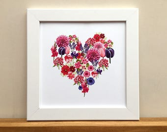 Flower heart print, 8 inch square print for framing.