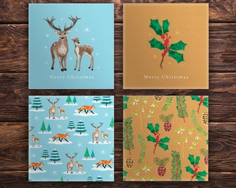 Illustrated Christmas Cards - Set of 4 designs