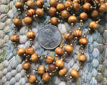 ONE METER Wood and Brass Bead Beaded Rosary Chain with Antique Bronze Links