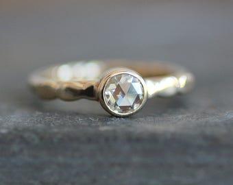 Moissanite Engagement Ring - 10K Gold Pebble Band - 5mm Rose Cut Gemstone  -  Diamond Alternative - READY TO SHIP (Size 6.5 / Resize)