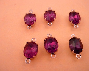4 Vintage Amethyst purple Oval Glass Charms 10x8 2  ring closed back silver tone connectors