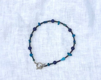 Turquoise, Lapis and Glass Bead Anklet