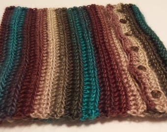 Buttoned Scarf - Multicolored Cowl - Ready to Ship - Christmas Present - Gift Ide